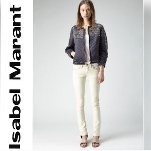Isabel marant Galix White Embroidered Skinny Jeans